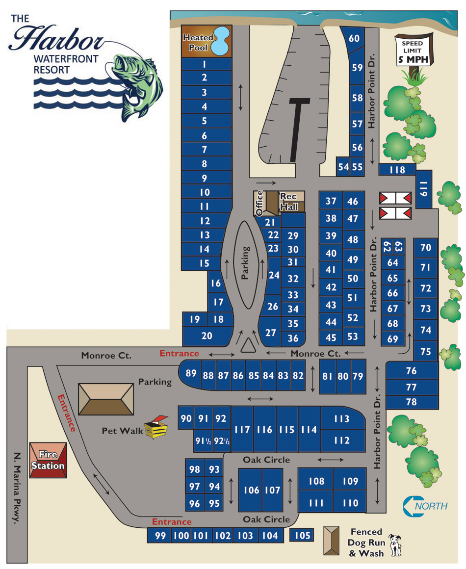 The Harbor RV Resort & Marina Site Map